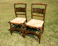 Late 19th century Pair of Hitchcock Stenciled Rush Seat Chairs