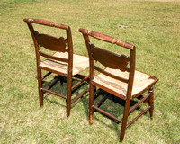 c. 1880 century Pair of Hitchcock Stenciled Rush Seat Chairs