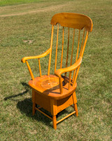 Late 19th century - Restored Windsor Style Pine Potty Chair with Chamber Pot